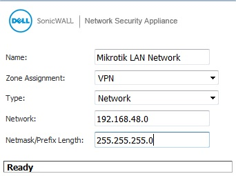 Sonicwall Mikrotik Address Object, VPN