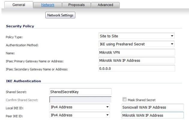 Sonicwall Mikrotik IPSec VPN General Tab