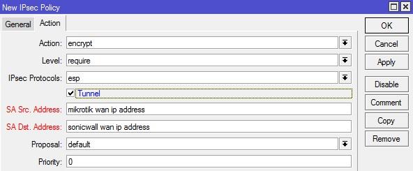 Sonicwall Mikrotik IPSec VPN IPSEC Policy Action Tab