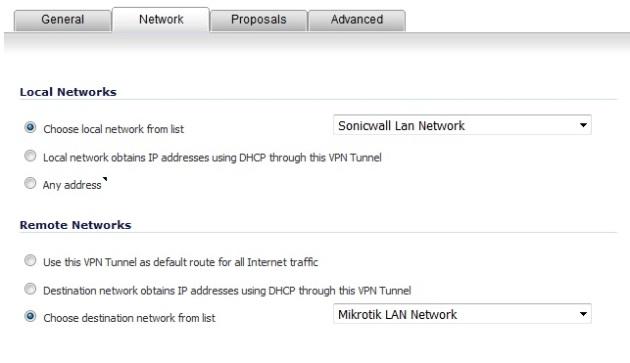 Sonicwall Mikrotik IPSec VPN Network Tab